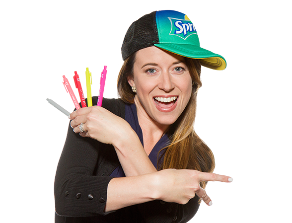 female with sideways hat flashing peace sign
